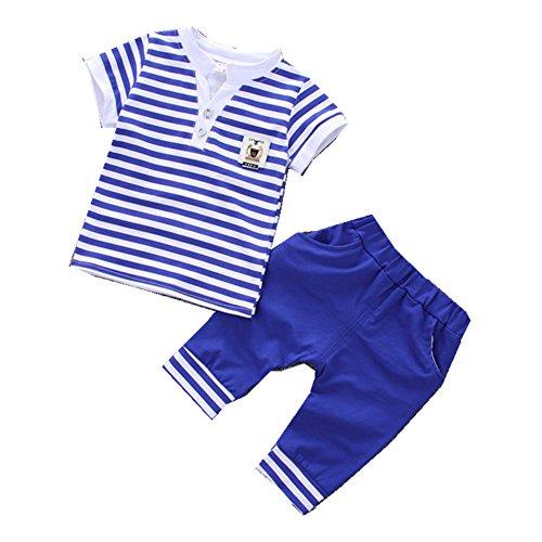 FTSUCQ Baby Boys/Girls Striped Short Sleeve Shirt Top + Shorts,Blue 100 ()