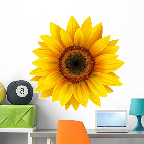 Wallmonkeys Sunflower Wall Decal Peel and Stick Floral Graphic (36 in H x 36 in W) WM124156 (Sunflower Stickers Wall)