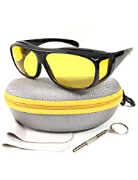 HD Sunglasses Night Driving Glasses Anti-Glare Wear Over Glasses Fit Over Prescription Glasses