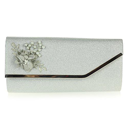 Mujer Señoras Noche Boda Nupcial Fiesta Paseo Diamante Brillar Rectángulo Bolsa de mano Bolso de embrague Plata