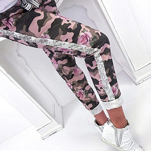 Slim Pink Tempo Libero Trousers Militari Donna Stampa Unico Costume Vita Eleganti Pantaloni Fit Fiore Elastica Moda Per Estivi Con Femminile Vintage Coulisse 6wpgq1z