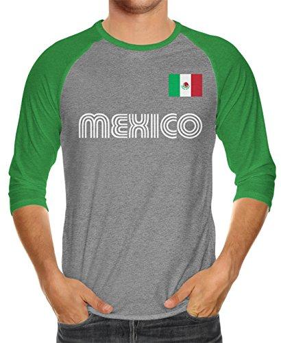 SpiritForged Apparel Mexico Soccer Jersey Unisex 3/4 Raglan Shirt, Kelly/Heather 3XL
