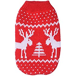 Pet Dog Costume Santa Elk Sweater for Halloween Christmas,Red-XL
