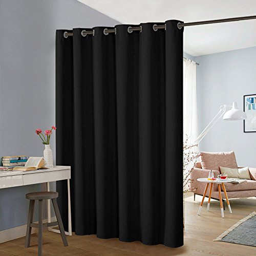 PONY DANCE Room Divider Partitions - Privacy Patio Door Curtain Screen Hide Clutter Space Separate Functions Full Length Grommet Top Curtain Panel, Black, 9ft Tall x 10ft Wide, One Piece by PONY DANCE