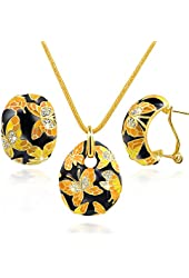 """Qianse """"Spring of Versailles"""" Handcrafted Butterfly Cloisonne Earrings Pendant Necklace Jewelry Set"""