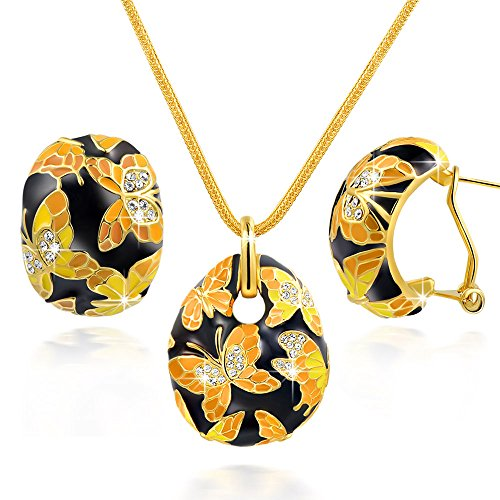- QIANSE Jewelry Set for Women Spring of Versailles Necklaces Earrings for Women Butterfly Gold Enamel Pendant Necklace Fashion Vintage Jewelry Set Birthday for Mom Grandma Wife