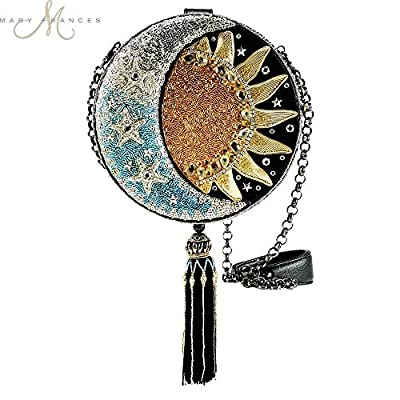 MARY FRANCES Day To Night Celestial Sun and Moon Beaded Round Handbag