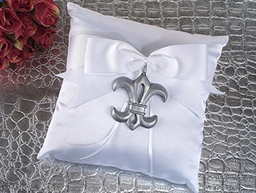 Silver Fleur De Lis Ring Pillow by Cassiani