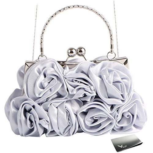Satin Silver Clasps - Missy K 7 Roses Clutch Purse, Satin, with Clasp Closure - Silver, with kilofly Money Clip