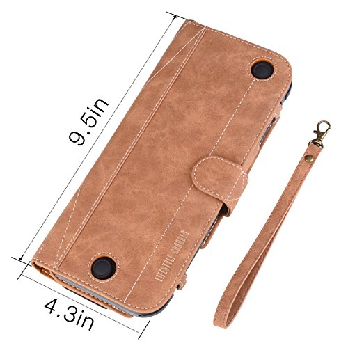 Nintendo Switch Leather Case ASTUBIA Premium PU Leather Flip Protective Cover with Wrist Strap for Nintendo Switch