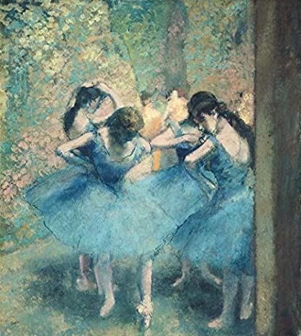 'Edgar Degas-Dancers In Blue,1895' Oil Painting, 24x27 Inch / 61x68 Cm ,printed On Perfect Effect Canvas ,this High Definition Art Decorative Canvas Prints Is Perfectly Suitalbe For Kitchen Decor And Home Decoration And (Bunny Air Dancer)