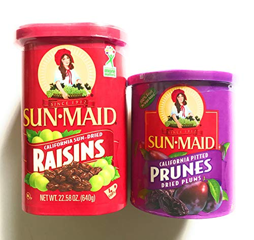 Sunmaid Raisins and Prunes Bundle - One 22 Ounce Container of Raisins and One 16 Ounce Container of Dried Prunes - GREAT DEAL! by SunMaid