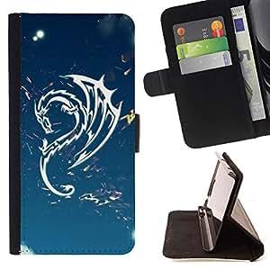 BullDog Case - FOR/Samsung Galaxy S6 EDGE / - / Design Tribal Dragon Sky /- Monedero de cuero de la PU Llevar cubierta de la caja con el ID Credit Card Slots Flip funda de cuer