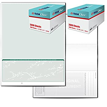 Image of Check Writers ValueChex Check Paper, Business Check On Bottom, Secure Green Prestige, 4000 Count (VS11GP-3140)