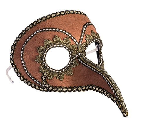 (Forum Novelties 77767 Steampunk Beaked Venetian Style Mask Brown Gold Eyeglass Arms Costume Accessory, One)