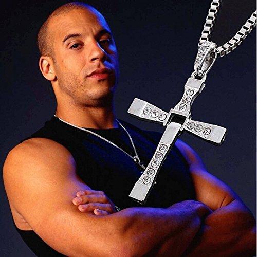 Cross Pendant Necklace Silver Stainless Steel Unisex's Chain Crucifix Men Women - Silver