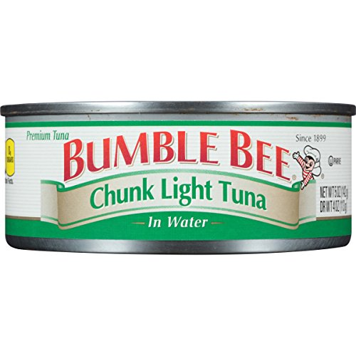 - BUMBLE BEE Chunk Light Tuna In Water, Wild Caught, High Protein Food, Gluten Free, Keto, Canned Food, 5 Ounce Cans, 24 Count
