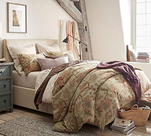 Pottery Barn Grace Floral Linen Texture King/California Duvet + 2 King Shams