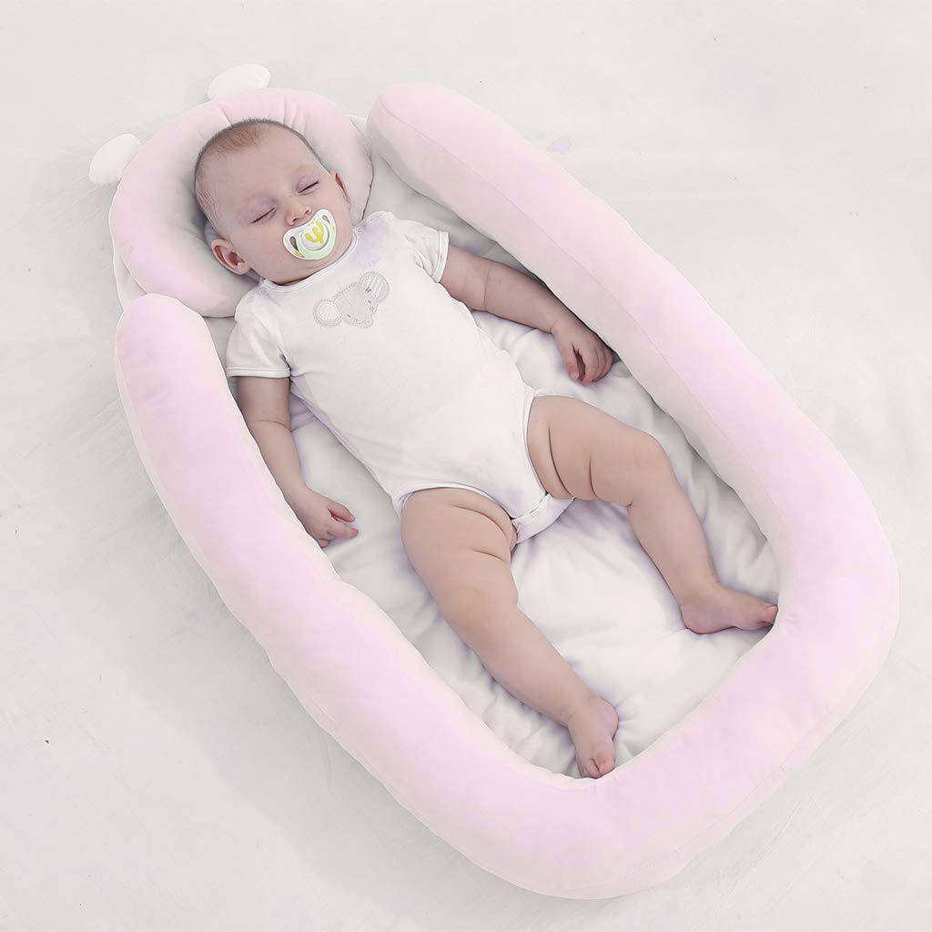 Baby Lounger Bed Portable Sleeping Crib Head Support Pillow Soft Breather Mattress for Newborn 0-8 Months vocheer Baby Bassinet Bed Pink