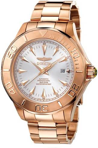 Invicta 23k Rose Gold Stainless Steel Signature Ocean Ghost Silver Dial Automatic