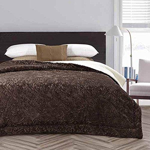 20湖ローズ印刷フローラルパターンFuzzy装飾Sherpa Throw Blanket Queen/Full ブラウン SHERPAROSESERIES B00WLETJ6O ブラウン Queen / Full