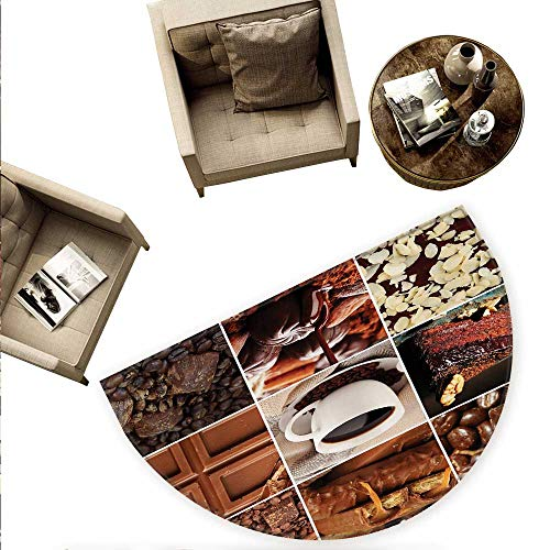 Brown Semicircle Doormat Coffee and Chocolate Tasty Collage Beans Mugs Snacks Pastries Espresso Cocoa Composition Halfmoon doormats H 59
