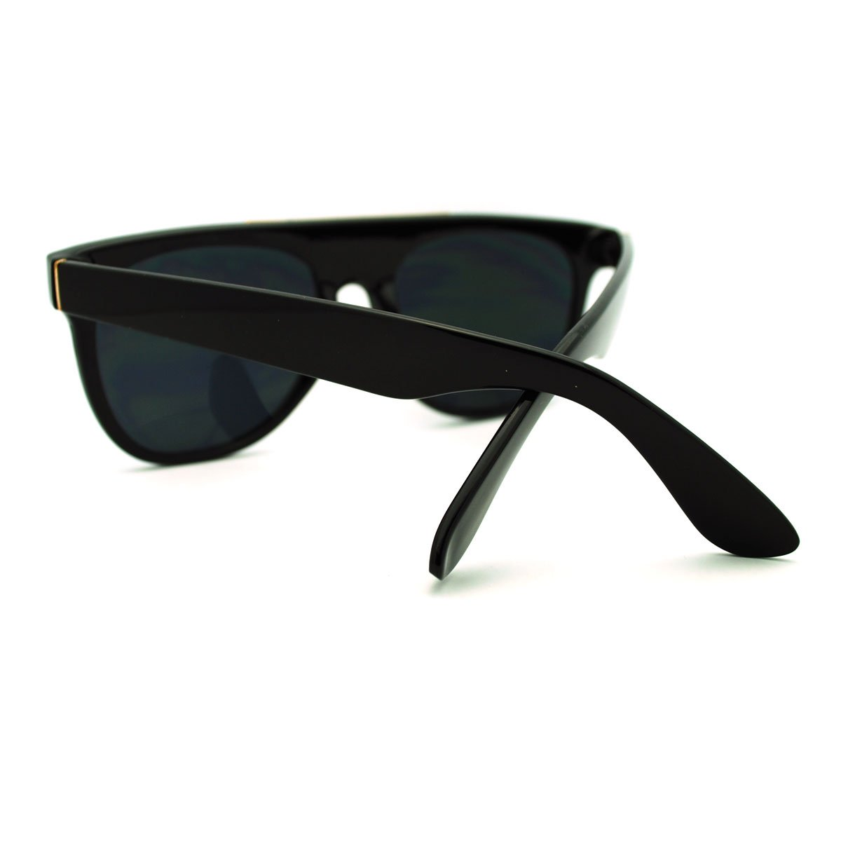 Black Super Trendy Metal Triangle Brow Flat Top Sunglasses