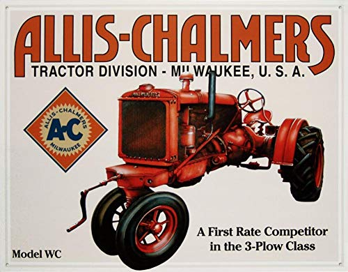 (Allis Chalmers Model WC Tractor Plow Retro Vintage Tin Sign TIN Sign 7.8X11.8)