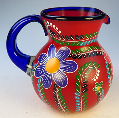 Mexican Glasses & Pitcher set with display rack, Hand Blown, Hand Painted, mixed colors w/various flowers, 16 OZ by Mexican Glass Hand Blown (Image #2)