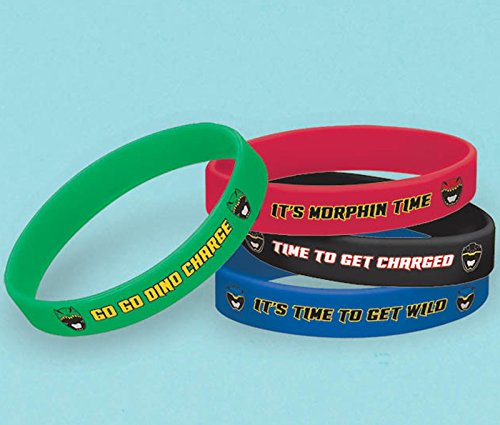 Amscan Power Rangers Dino Charge Rubber Bracelet (4 Piece), (Dinos Party Store)