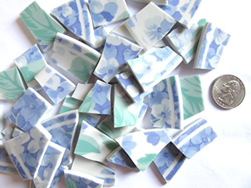 50 Blue Floral Mosaic Tiles, Broken China Mosaic Pieces, Ceramic Mosaic Tiles, Mosaic Art Supplies, Tile Mosaic Supply, Mosaic Craft Tiles, Broken Dish Pieces ()