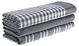 Classic Kitchen Towels, 100% Natural Cotton, The Best Tea Towels, Dish Cloth, Absorbent And Lint-Free, Machine Washable, 18 x 25 Inch, 3 Pack, White With Grey Stripe