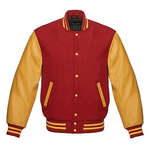 Design Custom Jackets Letterman Baseball Varsity Jacket Gold Leather Sleeves (Red, (Classic Letterman Jacket)