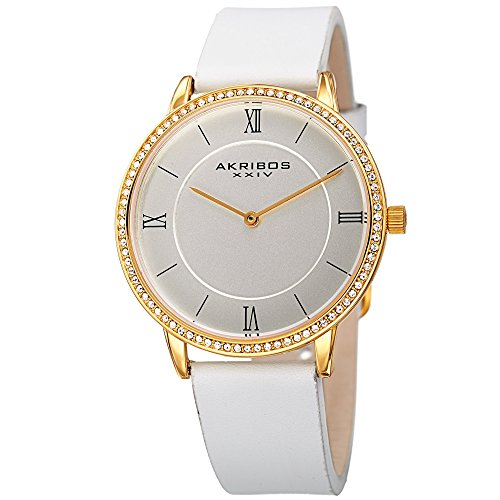 Bezel Silver White Leather - Akribos XXIV Women's Quartz Rose-Tone Case with Swarovski Crystal Accented Bezel and Silver-Tone Dial on White Genuine Leather Strap Watch AK924WT