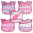 green sprouts  Wipe-Off Bib, Pink Elephant, 5 Count