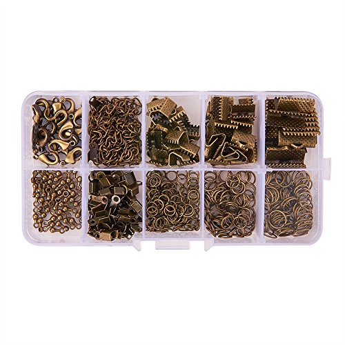 PandaHall Elite About 440Pcs Jewelry Findings Sets with Fold Over Crimp Ends Ribbon Ends Twist Chains and Brass Lobster Claw Clasps Antique Bronze (Fold Over Crimp)