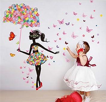 Yanqiao Pastoral fondo del hada de la flor paraguas pegatinas de ...