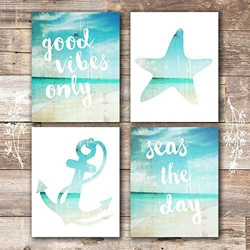 Beach Art Prints - Good Vibes Only (Set of 4) - Unframed - 8x10s -
