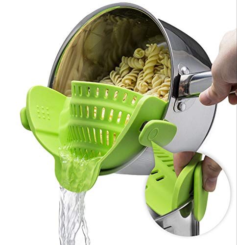 - Silicone Clip On Strainer Colander Spout Kitchen Gadget Tool Food Drainer For Spaghetti, Pasta, Ground Beef, Universal Fit On All Pots and Bowls, Flexible and Small For Space Saving - Green