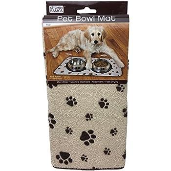 Kitchen Basics 423001 Microfiber Pet Bowl Mat, 10 Inch x 20 Inch, Taupe Paws