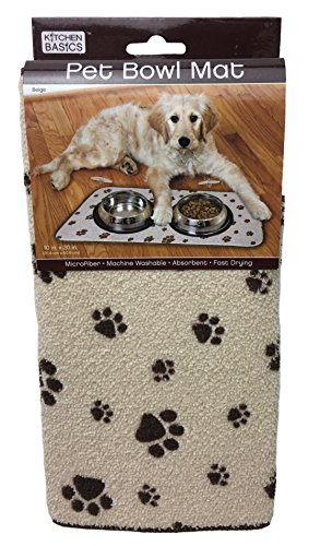 (Kitchen Basics 423001 Microfiber Pet Bowl Mat, 10 Inch x 20 Inch, Taupe Paws)