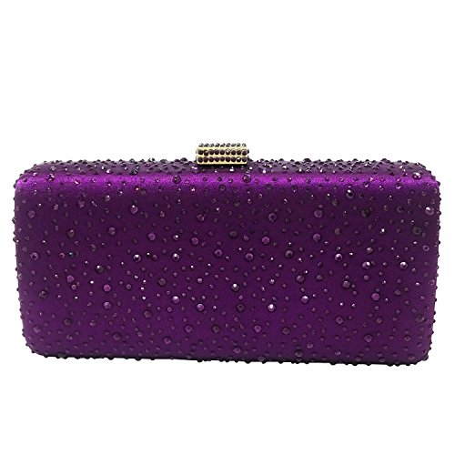Elegant Women Purple Crystal Clutch Evening Bags Wedding Cocktail Box Handbag Purse