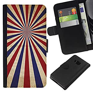 YiPhone /// Tirón de la caja Cartera de cuero con ranuras para tarjetas - PSICODÉLICA AZUL ROJO RAYAS - HTC One M9