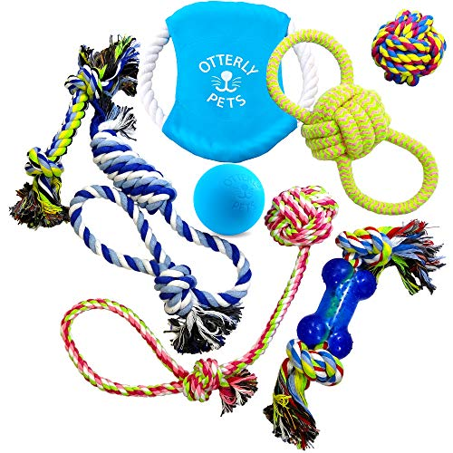 Otterly Pets Dog Toys (8-Pack) - Assorted Tough Ropes and a Single Near Indestructible Natural Rubber Ball for Small to Medium Dogs