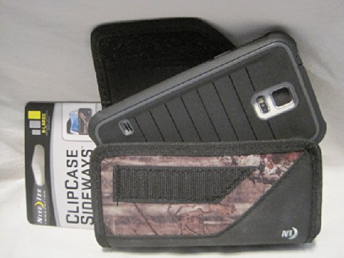 Nite Ize Black/camouflage Mossy Oak Extended Sideways Horizontal Rugged Heavy Duty X-large Holster Pouch W/durable Fixed Belt Clip Fits Samsung Galaxy S5 Sm-g900a At&t/ Sm-g900p Sprint / Sm-g900r4 Us Cellular/ Sm-g900t T-mobile / Sm-g900v Verizon S3/ S4 /S5 Body Glove Shocksuit Series Black and Charcoal