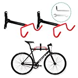 Voilamart Bike Wall Mount Hanger, 2pcs Indoor Storage Rack, Garage Bicycle Holder Hook Folding Saving Space, Heavy Duty 66lbs Max Capacity