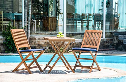 Living Essentials Outdoor Furniture 3 Piece Patio Folding Bistro Set | Acacia Wood | Navy Blue Cushions | Backyard, Balcony, Porch, Garden, Poolside | Teak Finish