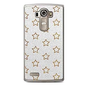 Glitter LG G4 Transparent Edge Case - Design Gold And Silver Stars
