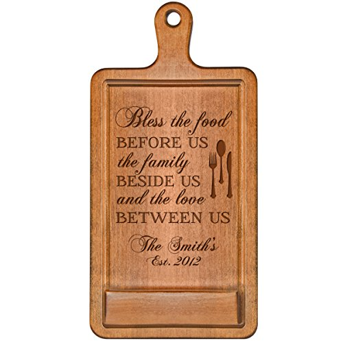 Personalized Cherry iPad Cook book Recipe holder with stand under counter for Kitchen with Family Name and Year Established date Bless the food Wedding Gift ideas for Him Her Couple