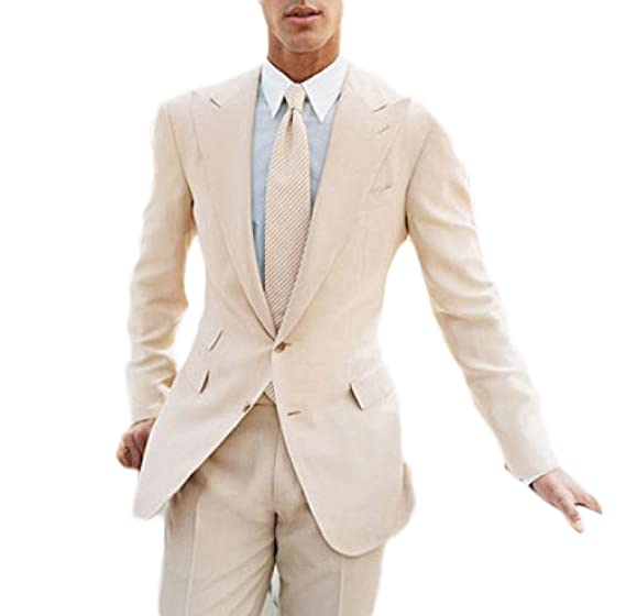 Botong Beige Summer Beach Wedding Suit 2 Pieces Groomsmen Suit Men ...